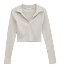 simple long sleeve cropped polo