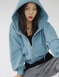 rain cropped hooded zip-up