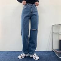 High Waist Point Straight Fit Straight Wide Jeans Pants P#YW661