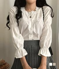 Rudy Lace Square Neck Puff Blouse