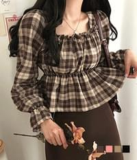 chocolate check flared blouse
