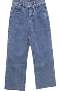 Kid Two Button High Wide Jeans