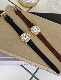 gold frame leather watch