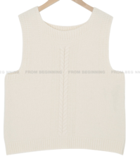 Plated Round Wool Knitwear Vest