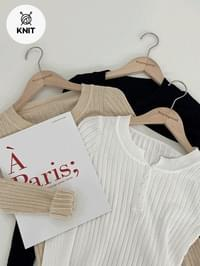 Ribbed sleeved button-obsessed Knitwear -3color