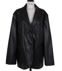 Maxi Collar Overfit Shoulder Padded Leather Jacket