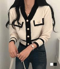 Hold thick color pearl cardigan