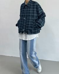 two-way check overfit blouson Jacket