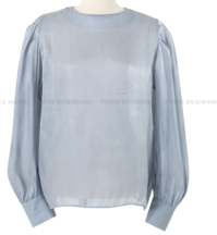 Luster puff round blouse