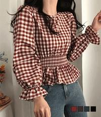 Zeck Goban Check Flare Smoked Blouse