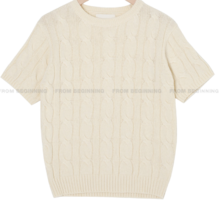 Cashmere Wool Cable Short Sleeve Knitwear
