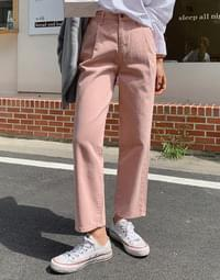 Brow Pin Tuck Straight Fit Cotton Pants