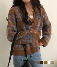 Tenten Hound Check Loose-fit Cardigan