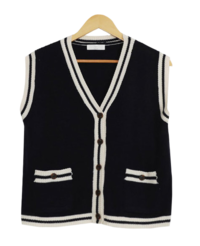 Color Matching Knitwear Vest Cardigan