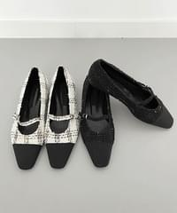 tweed flat shoes - 2color