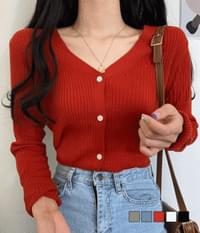 rusty Ribbed button cardigan