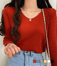 Camembert Jean Cable V-Neck Knitwear