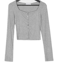 Fenter Ribbed Square Crop Long Sleeve Cardigan