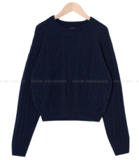 Mixed Cable Wool Round Knitwear
