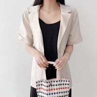 Linen Loose-fit Two Button Short Sleeve Single Jacket 4color