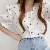 Cherry Square Neck Cotton Puff Short Sleeve Blouse