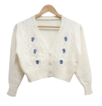 Flower Embroidered Knitwear Cardigan