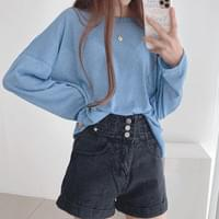 Big Size Loose-fit Fit Linen See-through Long Sleeve Knitwear T-shirt 6color