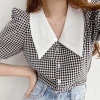 Puff sleeve big collar check short sleeve blouse 3color