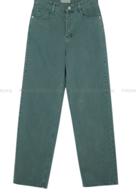 Color Faded Wide Straight Denim Pants