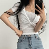 See-through Twisted Crop Short Sleeve Sleeveless Set 4color