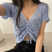 Punching Net Shirring See-through Short Sleeve Knitwear 5color