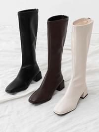 Semi-Square Nose Back Zip Unbalanced Middle Heel Long Boots 11090 ♡Second Sold Out♡