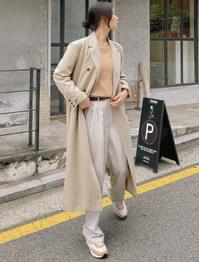 French Overfit Double Long Coat