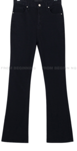 Slim Black Cotton Flared Trousers
