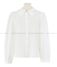 plate frill collar blouse
