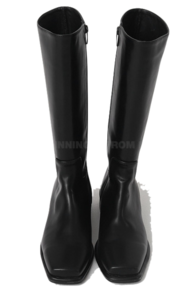 All Day Square Leather Long Boots