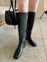 Mood Square Leather Long Boots