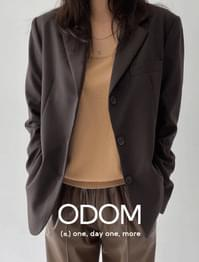 3 Button Classic Wool Jacket - Brown