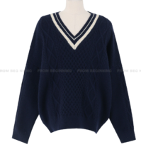 Waffle Cable V-Neck Knitwear