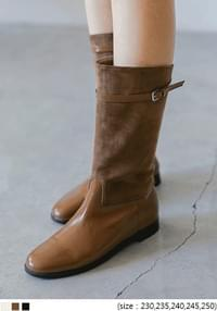 Buckled Strap Accent Mid-Calf Boots