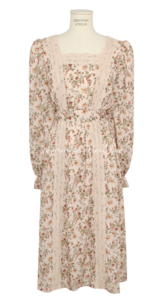 Lace Accent Belted Floral Dress