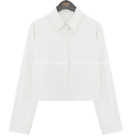 Front and Back Button Crop Shirt