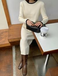 Color matching line Ribbed knitwear long Dress