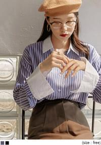 Contrast Collar and Cuff Striped Shirt