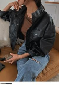 Coordination Loose-fit Leather Jacket