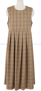Vintage Check Pleated Long Dress