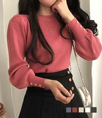 Button Point Puff Ribbed Knitwear