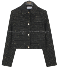 Flap Accent Cropped Tweed Jacket