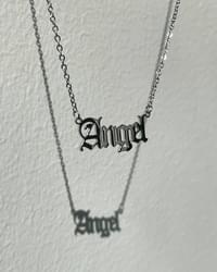 Fob Angel Lettering Kitsch Silver Necklace