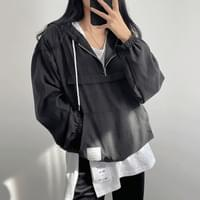 Loose-fit cube patch hood anorak half zip up 4color